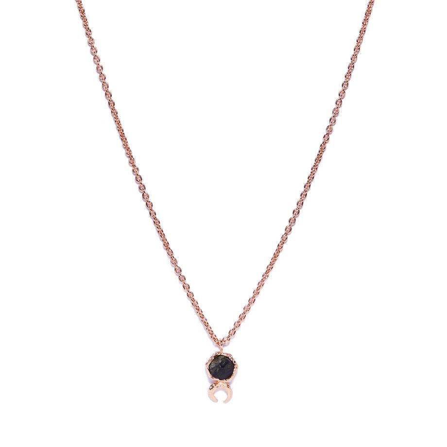 Moon, Rose Gold, Necklace, Black Onyx,
