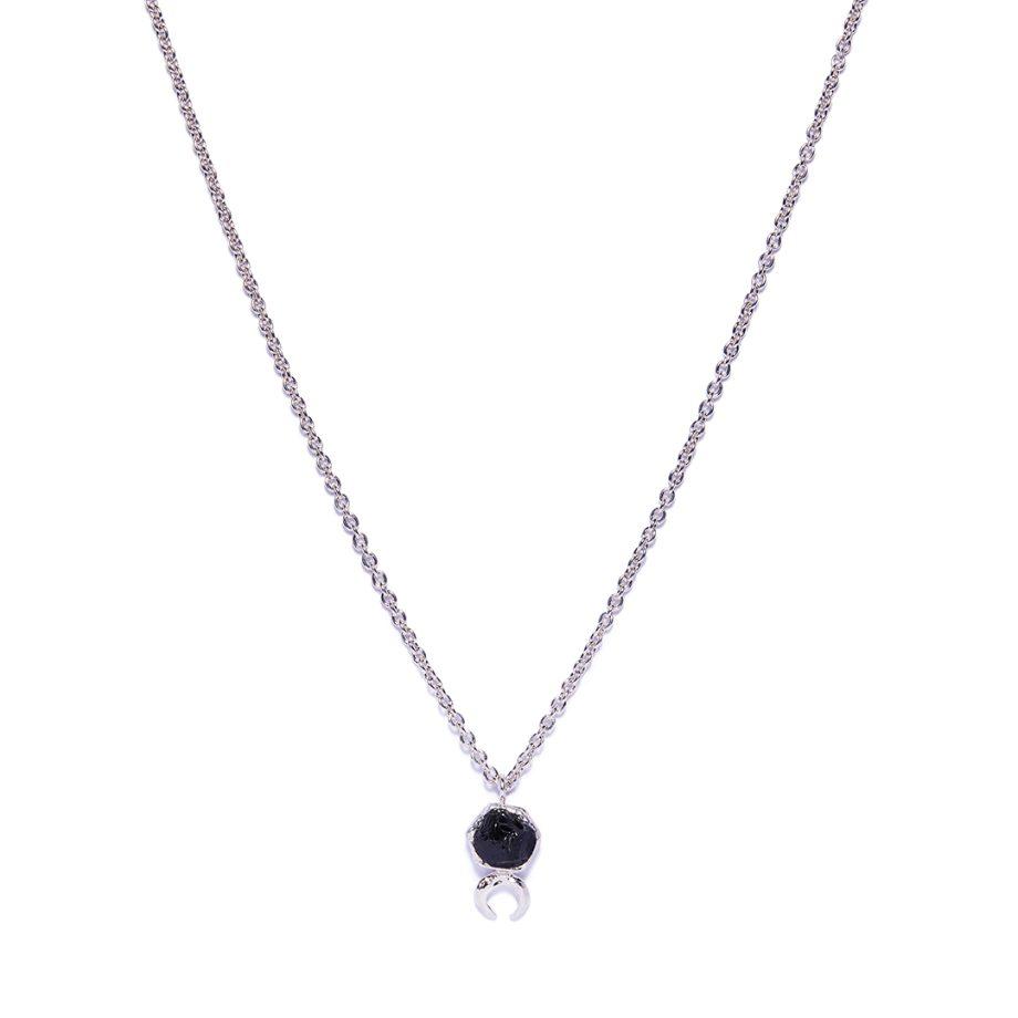 Moon, Necklace, White Rhodium, Black Onyx