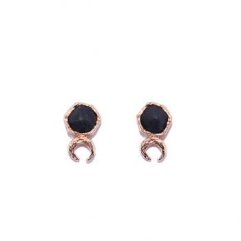 Moon Earrings, Black Onyx, Rose Gold