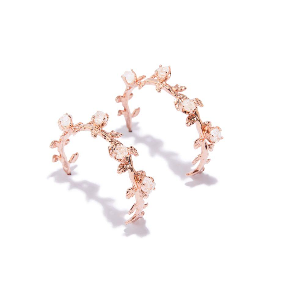 Leaf Floral Rose Gold Earrings Rock Crystal
