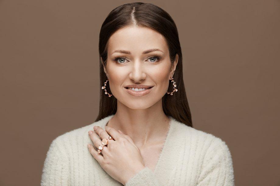 Rose Gold Earrings Rock Crystal
