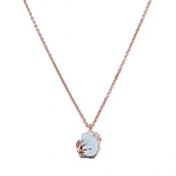 Rose Gold Necklace, Aquamarine, Handmade jewelry