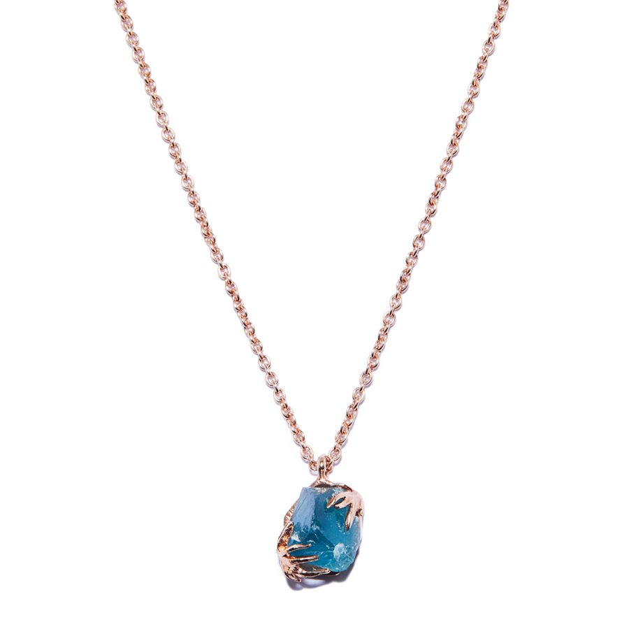 Blue Apatite, Rose Gold Necklace, Handmade jewelry