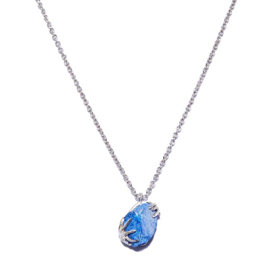 Blue Sapphire, White Rhodium, Silver, Necklace, Handmade jewelry