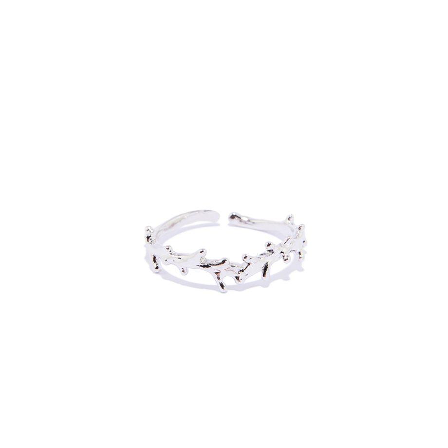 White Rhodium, Ring, One Size, Handmade JEWELRY