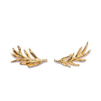 Gold Earrings, Handmade Earrings, Palm Leaf Earrings